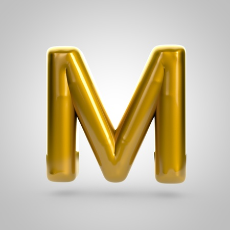 Metallic paint golden letter M uppercase. 3D rendering font with glint and lights reflections isolated on white background.