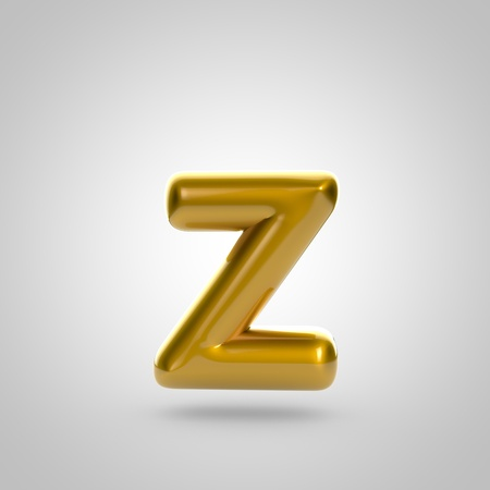 bubble gum: Metallic paint golden letter Z lowercase. 3D rendering font with glint and lights reflections isolated on white background.