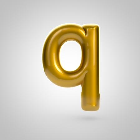 Metallic paint golden letter Q lowercase. 3D rendering font with glint and lights reflections isolated on white background. Stock Photo