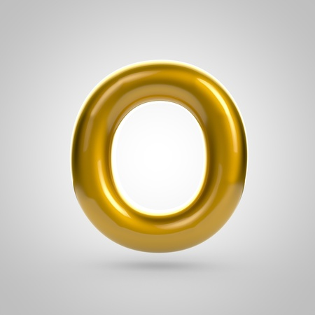 bubble gum: Metallic paint golden letter O uppercase. 3D rendering font with glint and lights reflections isolated on white background. Stock Photo