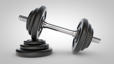 Dumbbell isolated on white background. 3D rendering of dumbbell with chrome handle standing on black weights.