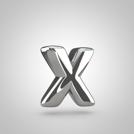 Silver letter X lowercase. 3D rendering of silver twisted font isolated on white background.