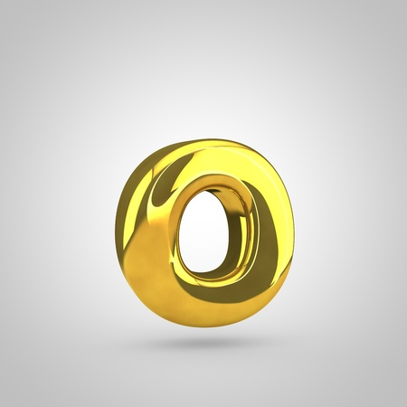 glint: Golden letter O lowercase. 3D rendering of golden twisted font isolated on white background.