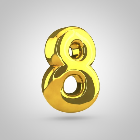 glint: Golden number 8. 3D rendering of golden twisted font isolated on white background. Stock Photo
