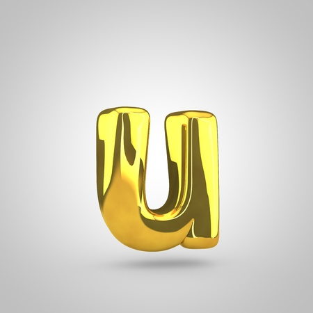 Golden letter U lowercase. 3D rendering of golden twisted font isolated on white background.