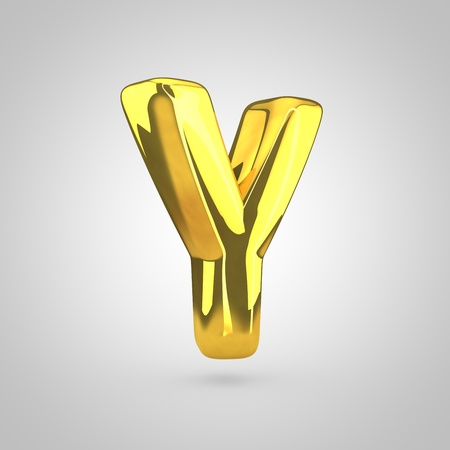 Golden letter Y uppercase. 3D rendering of golden twisted font isolated on white background.