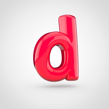 Glossy pink paint letter D lowercase. 3D render of bubble twisted font with glint isolated on white background.