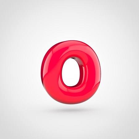 glossy pink paint letter o lowercase 3d render of bubble twisted font with glint isolated