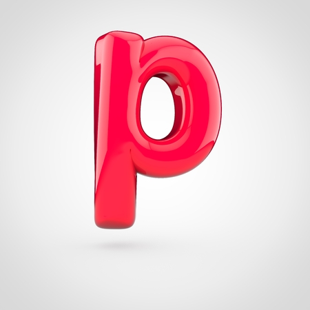 Glossy pink paint letter P lowercase. 3D render of bubble twisted font with glint isolated on white background.