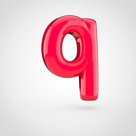 Glossy pink paint letter Q lowercase. 3D render of bubble twisted font with glint isolated on white background. Stock Photo