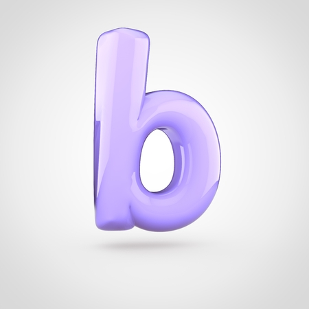 Glossy violet paint letter B lowercase. 3D render of bubble twisted font with glint isolated on white background.
