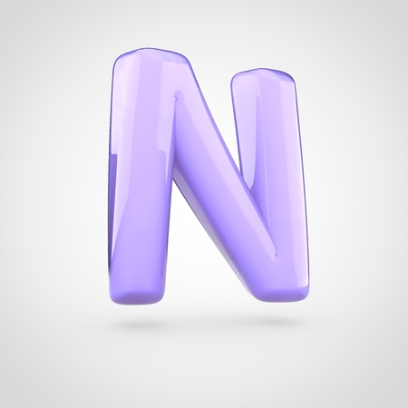 Glossy violet paint letter N uppercase. 3D render of bubble twisted font with glint isolated on white background.