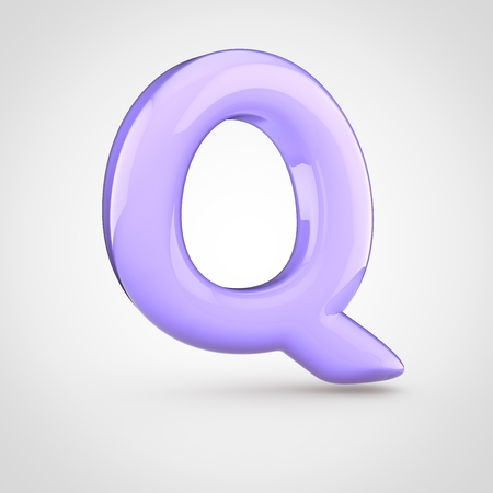 Glossy violet paint letter Q uppercase. 3D render of bubble twisted font with glint isolated on white background.