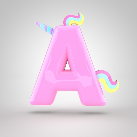 Cute unicorn pink letter A uppercase with different colors horn, mane and tail. 3D render of bubble font with glint isolated on white background.