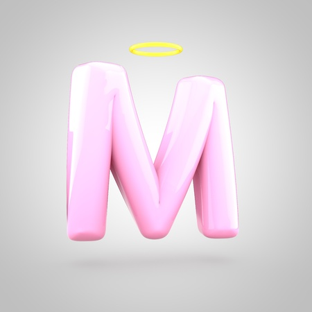 Cute angelic pink letter M uppercase. 3D render of bubble font with glint isolated on white background.