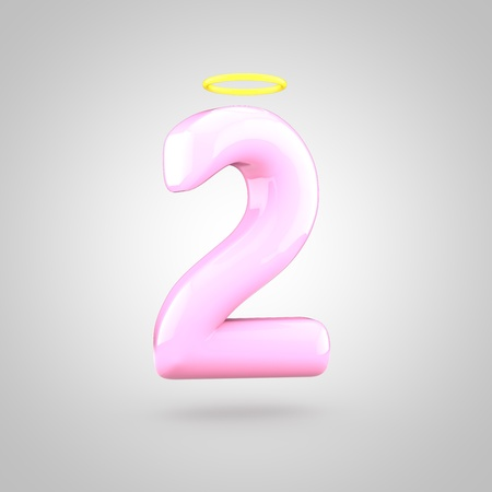 Cute angelic pink number 2 with halo. 3D render of bubble font with glint isolated on white background.