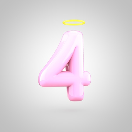 Cute angelic pink number 4 with halo. 3D render of bubble font with glint isolated on white background. Stock Photo