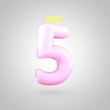 Cute angelic pink number 5 with halo. 3D render of bubble font with glint isolated on white background.