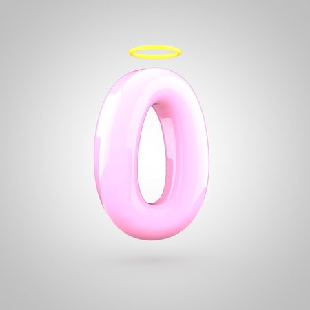 Cute angelic pink number 0 with halo. 3D render of bubble font with glint isolated on white background.