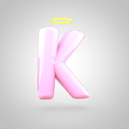 Cute angelic pink letter K uppercase. 3D render of bubble font with glint isolated on white background.