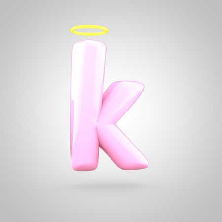 Cute angelic pink letter K lowercase. 3D render of bubble font with glint isolated on white background.