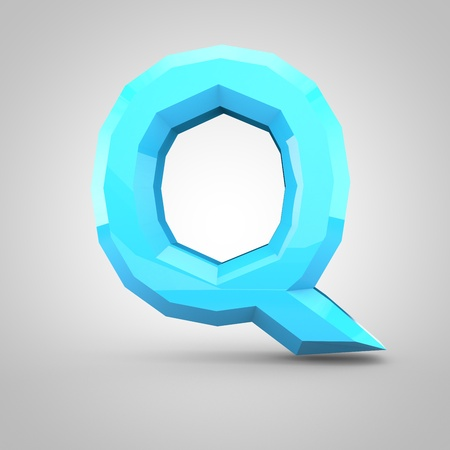 Low poly alphabet letter Q uppercase. 3D render of blue glossy polygonal font isolated on white background.
