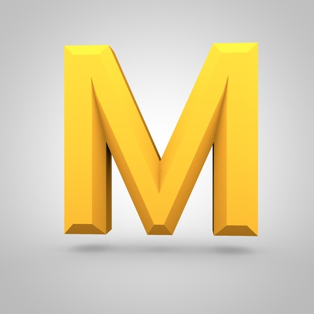 Low poly alphabet letter M uppercase. 3D render of yellow mate polygonal font isolated on white background.