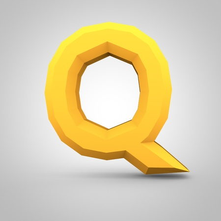 mate: Low poly alphabet letter Q uppercase. 3D render of yellow mate polygonal font isolated on white background.