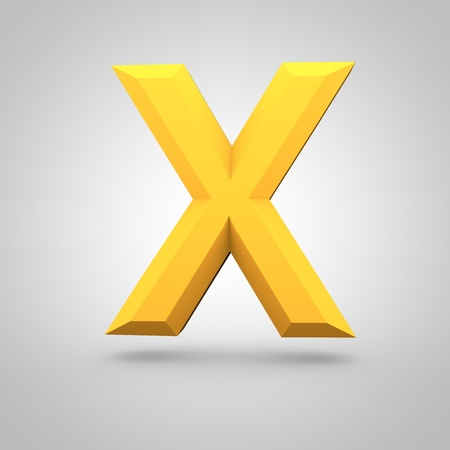 Low poly alphabet letter X uppercase. 3D render of yellow mate polygonal font isolated on white background.