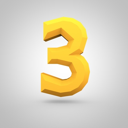 mate: Low poly alphabet number 3. 3D render of yellow mate polygonal font isolated on white background.