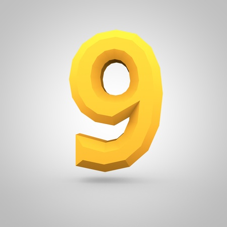 mate: Low poly alphabet number 9. 3D render of yellow mate polygonal font isolated on white background. Stock Photo