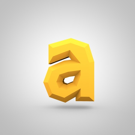 mate: Low poly alphabet letter A lowercase. 3D render of yellow mate polygonal font isolated on white background.