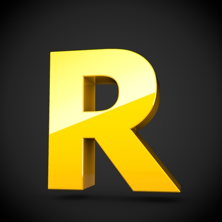 Glossy yellow paint alphabet letter R uppercase with softbox reflection. 3D rendered font. Isolated on black background.