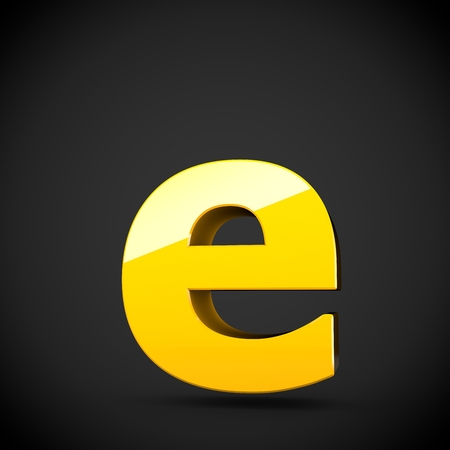 Glossy yellow paint alphabet letter E lowercase with softbox reflection. 3D rendered font. Isolated on black background.