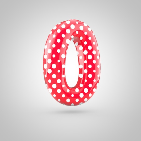 Red alphabet number 0 with white dots. 3D render of glossy font isolated on white background.