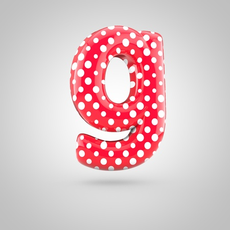 Red alphabet letter G lowercase with white dots. 3D render of glossy font isolated on white background.