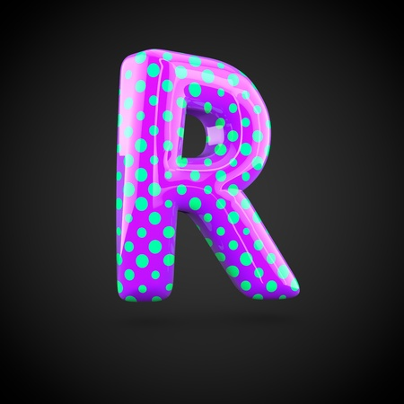 uppercase: Violet alphabet letter R uppercase with blue dots. 3D render of glossy font isolated on white background.