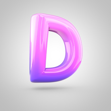 d: Glossy pink and violet gradient paint alphabet letter D uppercase. 3D render of bubble twisted font with glint isolated on white background.