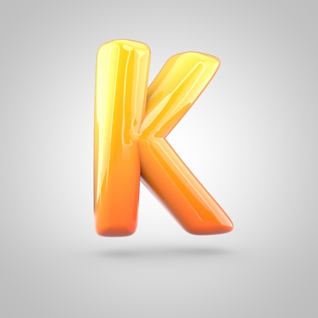 Glossy orange and yellow gradient paint alphabet letter K uppercase. 3D render of bubble twisted font with glint isolated on white background.