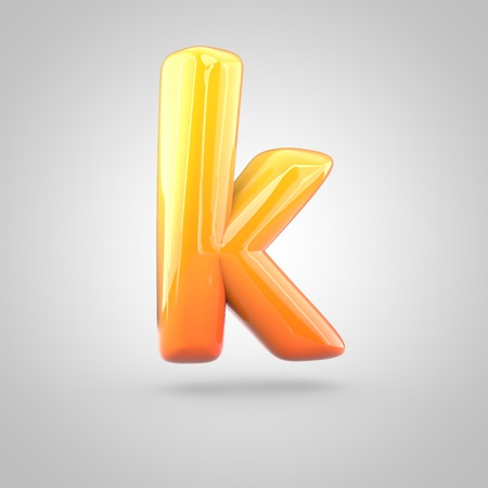 Glossy orange and yellow gradient paint alphabet letter K lowercase. 3D render of bubble twisted font with glint isolated on white background.