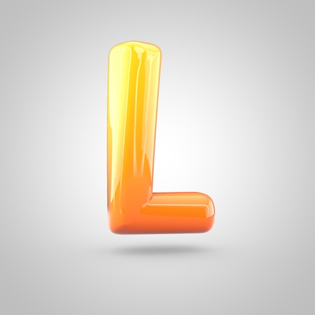 Glossy orange and yellow gradient paint alphabet letter L uppercase. 3D render of bubble twisted font with glint isolated on white background. Stock Photo