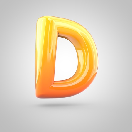 Glossy orange and yellow gradient paint alphabet letter D uppercase. 3D render of bubble twisted font with glint isolated on white background. Stock Photo