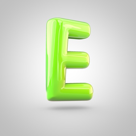 uppercase: Glossy lime paint alphabet letter E uppercase. 3D render of bubble twisted font with glint and ring light reflections isolated on white background.