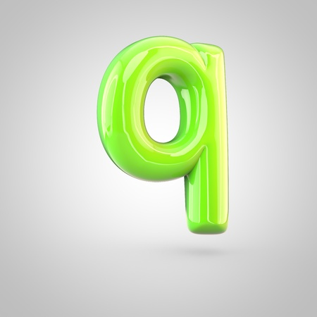 Glossy lime paint alphabet letter Q lowercase. 3D render of bubble twisted font with glint and ring light reflections isolated on white background.
