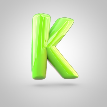 uppercase: Glossy lime paint alphabet letter K uppercase. 3D render of bubble twisted font with glint and ring light reflections isolated on white background.