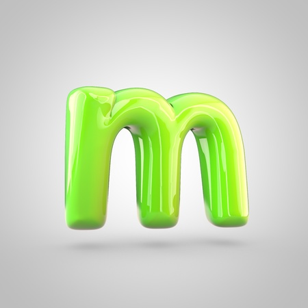 Glossy lime paint alphabet letter M lowercase. 3D render of bubble twisted font with glint and ring light reflections isolated on white background.