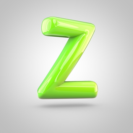 Glossy lime paint alphabet letter Z uppercase. 3D render of bubble twisted font with glint and ring light reflections isolated on white background. Stock Photo