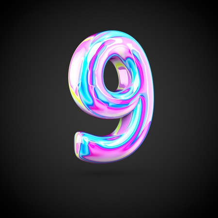Glossy holographic number 9. 3D render of holographic font isolated on black background.