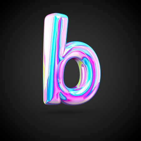 Glossy holographic alphabet letter B lowercase. 3D render of holographic font isolated on black background.