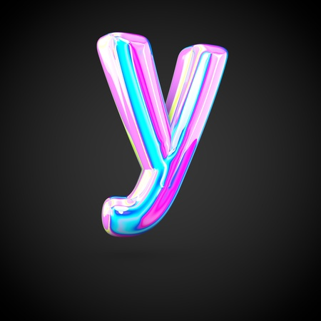 Glossy holographic alphabet letter Y lowercase. 3D render of holographic font isolated on black background.